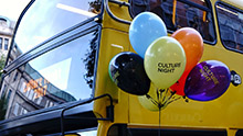 Culture night bus and balloons