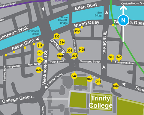 Map of stops on Trinity College