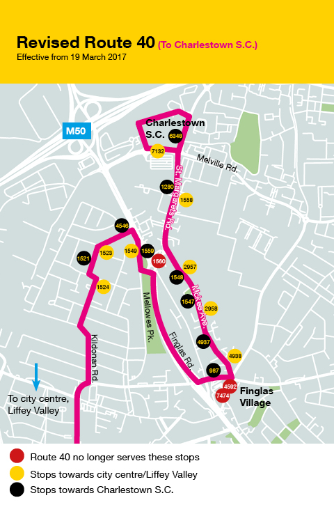 Extension to Route 40 and Timetable Change on Route 40b from Sunday on
