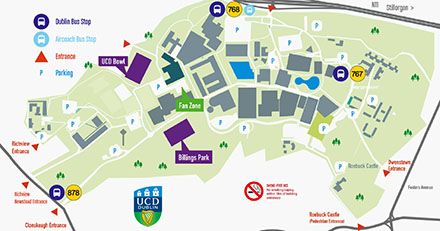 Map of routes to City Centre from UCD