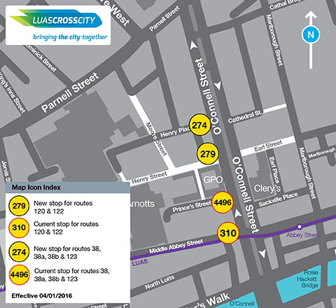 Map of O'Connell St bus stops