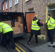 Delivering food to Capuchin Day Centre